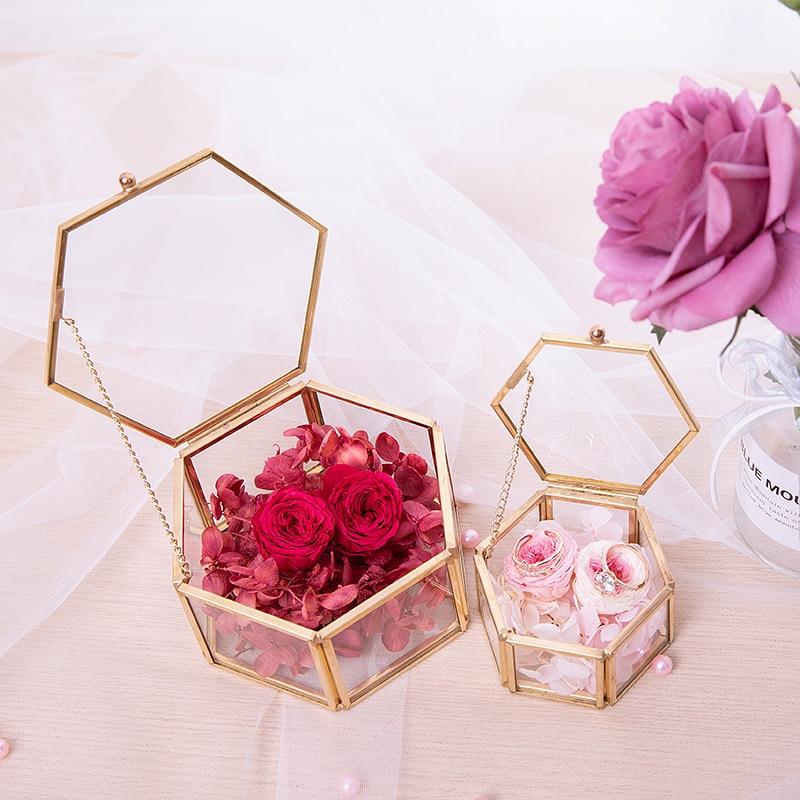 Wedding-Ring-Box Flower Birthday-Gift Transparent Eternal Storage Gold Glass Anniversary
