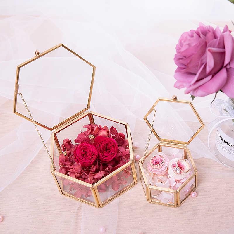 Sen Eternal Flower Diy Wedding Ring Box Transparent Glass Gold