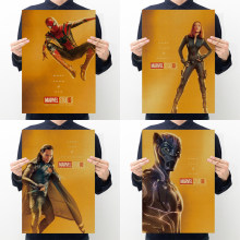 AIMEER Spiderman Black Widow Black Panther Loki Pittura Decorativa 10th Anniversario Retro Kraft Poster Da Parete Sticker 51*35m(China)