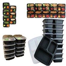 Récipients en plastique pour préparation des repas 3 compartiments, réutilisables, stockage des aliments avec couvercle micro-ondable, 10 pièces