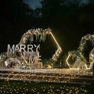 Image 2 - الزفاف الدعائم سداسية الحديد المطاوع قوس إطار زخرفة خلفية مرحلة الزفاف إطار الحديد حفل زفاف عيد ميلاد لوازم