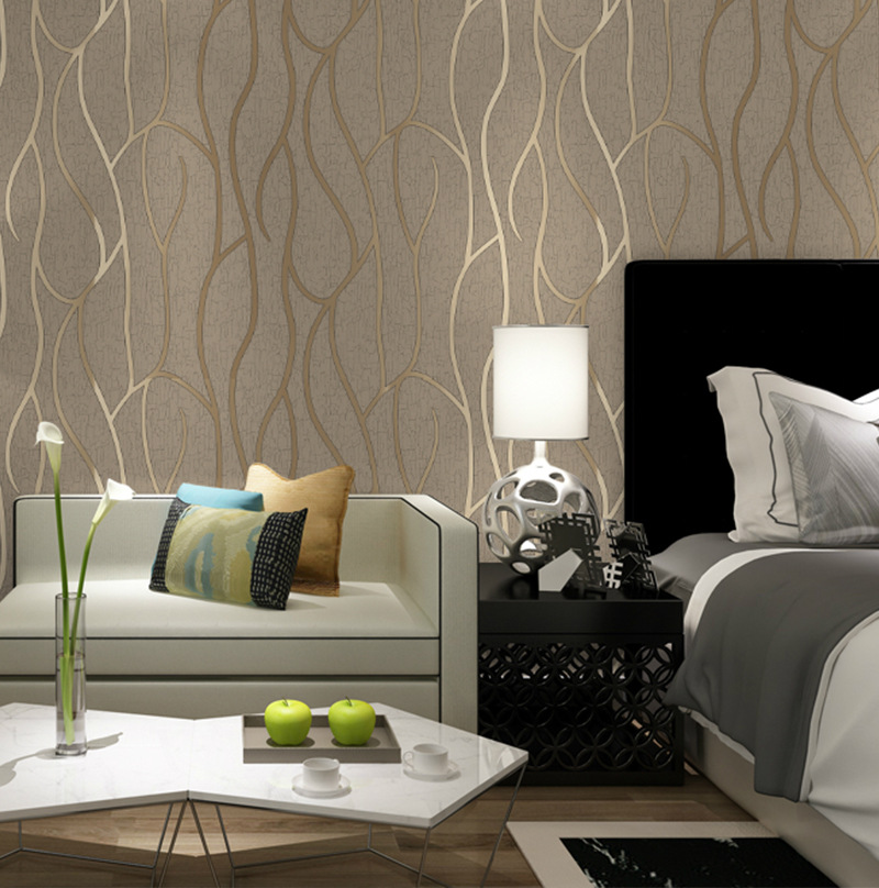 Suede TV Backdrop Wallpaper 3D Stripes Thick Modern Minimalist Non-woven Wallpaper