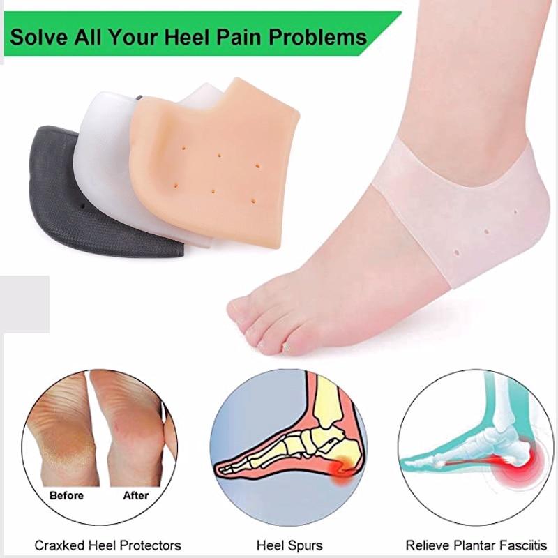 Men Women Soft Silicone Heel Cups Breathable Inserts Plantar Heel Pads Fasciitis Cushion  Foot Skin Care Protector Heel Socks