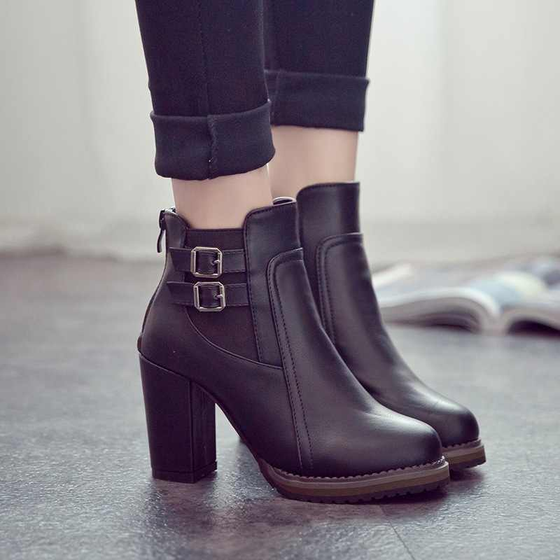 Women Boots PU Leather Winter Boots Women High Heel Boots Fashion Winter Shoes Women Ankle Boots Black Brown Plus Size 41 42 43
