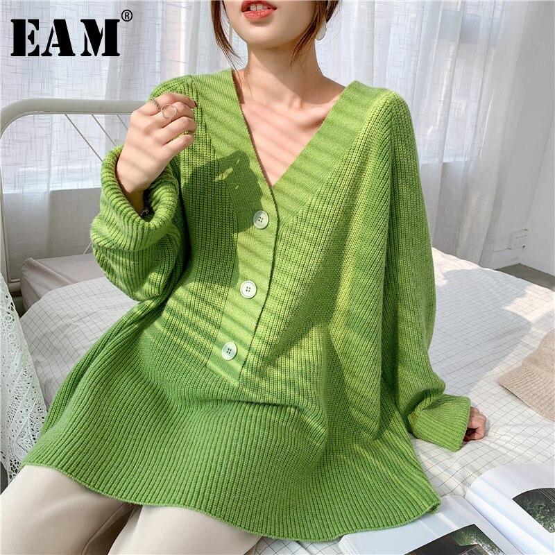 [EAM] Grau Großen Größe Stricken Pullover Lose Fit V-ausschnitt Langarm Frauen Pullover Neue Mode Flut Herbst Winter 2021 1Y173
