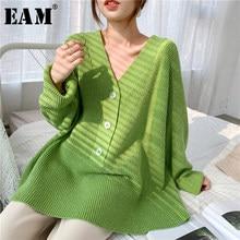 [EAM] gris grande taille tricot pull coupe ample col en v à manches longues femmes pulls nouvelle mode marée automne hiver 2021 1Y173