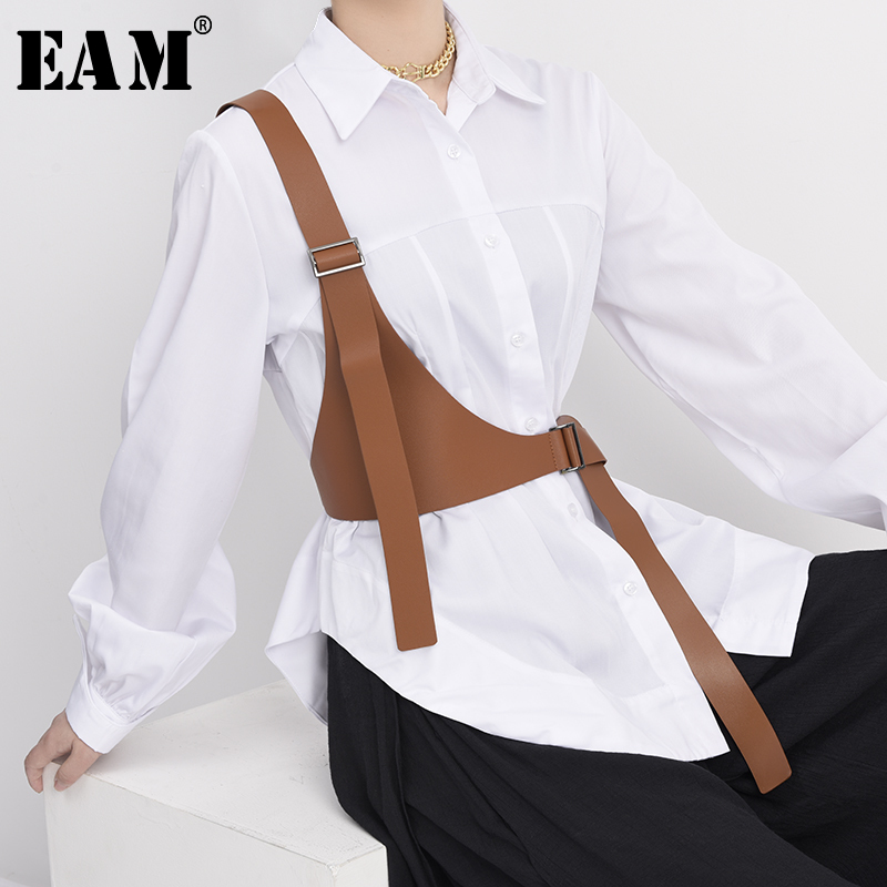 [EAM]  Pu Leather Black Irregular Split Joint Strap Belt Personality Women New Fashion Tide All-match Spring Autumn 2021 JX69701
