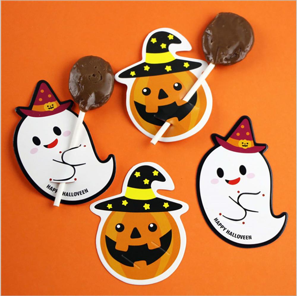 2019 New 50 Pcs DIY Cute Pumpkin Ghoest Devil Candy Decorations Paper Cards Message Lollipop Cards Halloween Gift