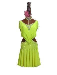 Image 2 - New Green Tassel Latin Dance Dress Women Competition Performance Clothing High end Fluorescent Green Fringed Skirt Costumes