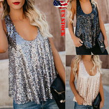 Mode Sequin Vrouwen Kwastje Tank Top Paillette Reflecterende Casual Vest Hemdje Bling Blouse Mouwloze Tops(China)