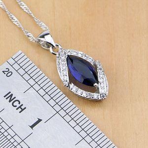Image 3 - Rhombic Blue Crystal Jewelry White CZ 925 Sterling Silver Jewelry Sets Women Earrings/Pendant/Necklace/Ring/Bracelet