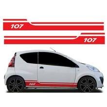 Для Peugeot 107 сторона гонки полосы графические наклейки виниловые jx-04