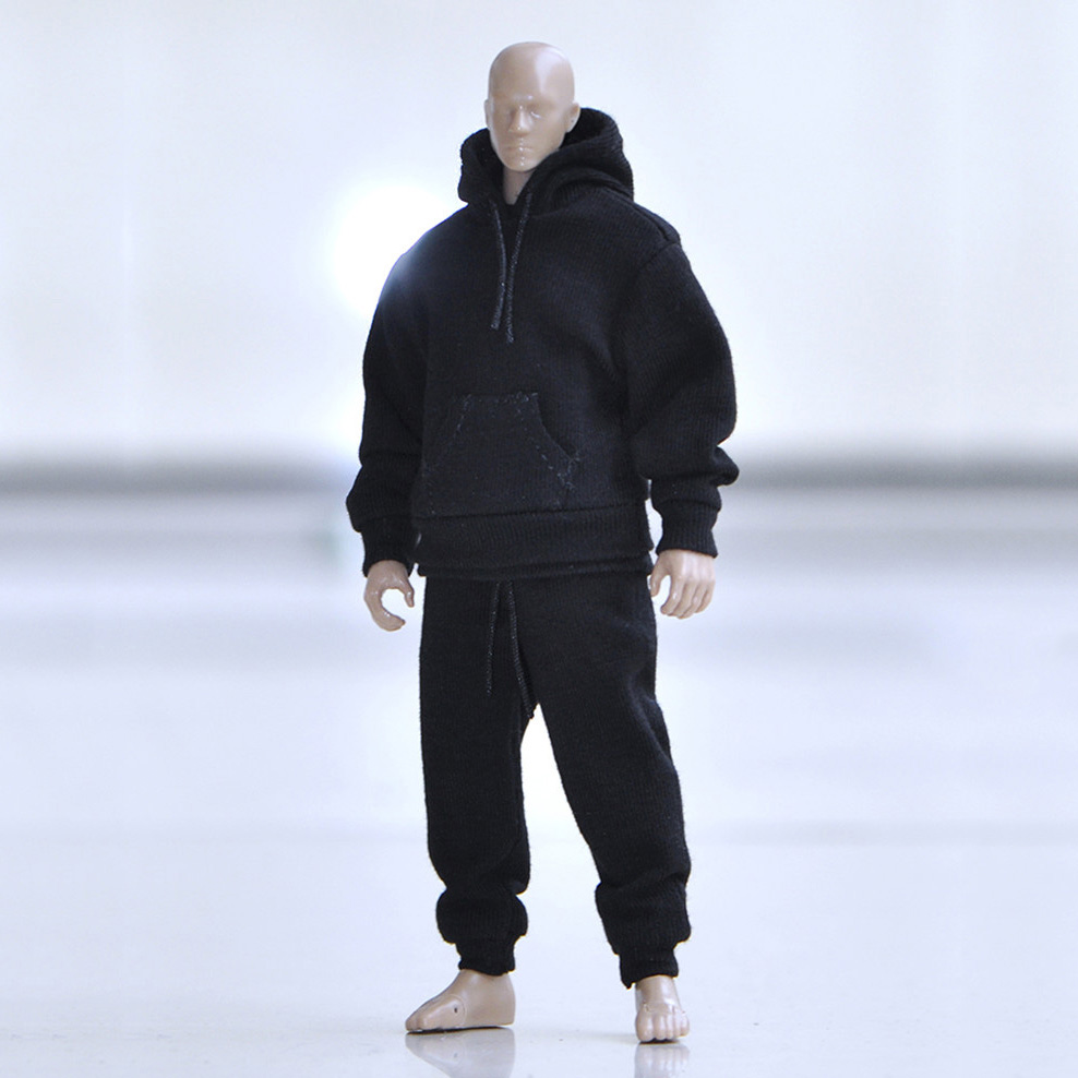 In Stock 1/12 Scale Male Hooded Sweater Shirt pants Set Street Casual Clothes for 6 inches Action Figures Body Model