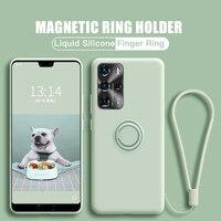 Soporte de anillo magnético para Samsung Galaxy S21 Ultra S20 FE S10 Plus Note 20 S9 Plus S21 FE, funda de silicona líquida suave