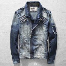 Fashion Motorcycle Denim Jackets Male Turn-down Collar Vintage Irregular Zipper Cotton Jeans Jacket Men Autumn Winter DS50937
