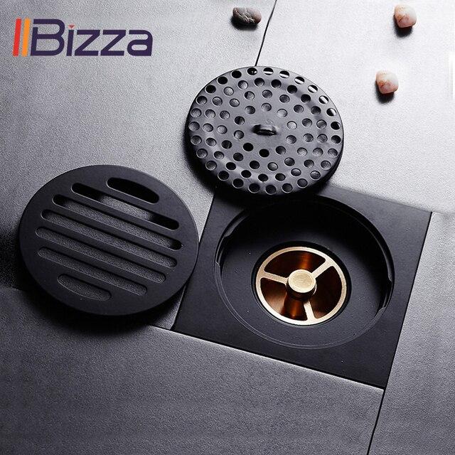 シャワー排水平方風呂ストレーナー髪アンティークブラスブラック浴室床ドレングリッド廃格子洗濯機の排水カバー