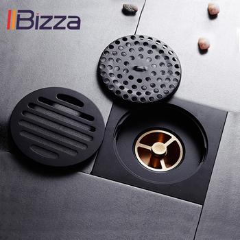 IIBizza odpływy prysznicowe kwadratowy filtr odpływu do kąpieli włosy antyczny mosiądz czarny podłoga w łazience odpływ odpadów ruszt spustowy tanie i dobre opinie Brass Typ dezodoryzacji Innych Piętro Specjalne wpustu do pralki Lakierowane Square Kanalizacji A008