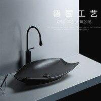 Nórdicos minimalista árbol de hoja de cerámica sobre lavabo de encimera negro solo lavabo cuarto de baño creativo lavabo artístico de fregadero todo-Partido