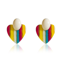 DREJEW Colorful Heart Flower Resin Statement Earrings 2019 Fashion Geometric Alloy Drop for Women Weddings Party HE1461