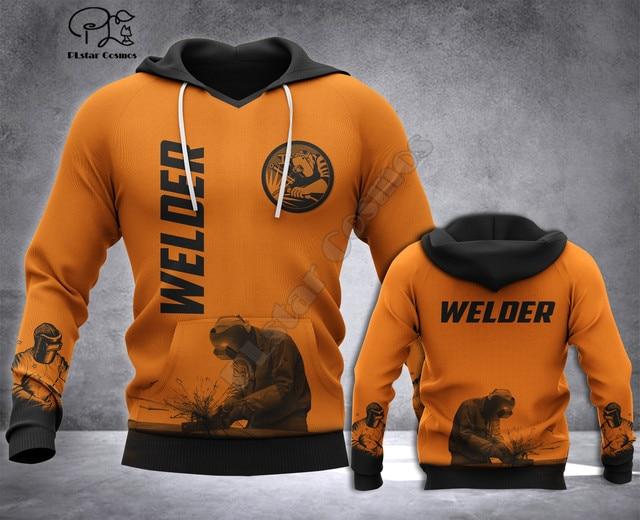 Welder printed Hoodies sweatshirts Men Women Fashion Hooded Long Sleeve streetwear Pullover cosplay costumes 3