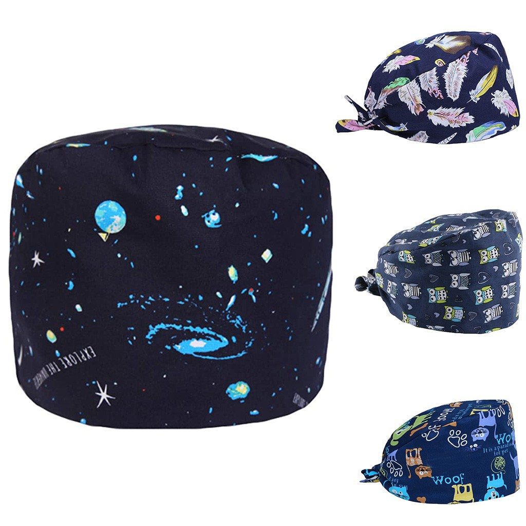 Unisex Medical Work Hat Medical Doctor Nurse Surgical Cap Cute Animal Printing Lab Clinic Dental Operation Scrub Hat Pet Pet Vet