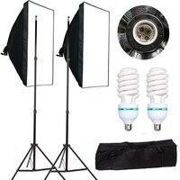 Photography Softbox Lightbox Kit 50*70cm Softbox 2PCS 135W Bulb Photo Studio Camera Lighting Equipment Light Stand Carry Bag