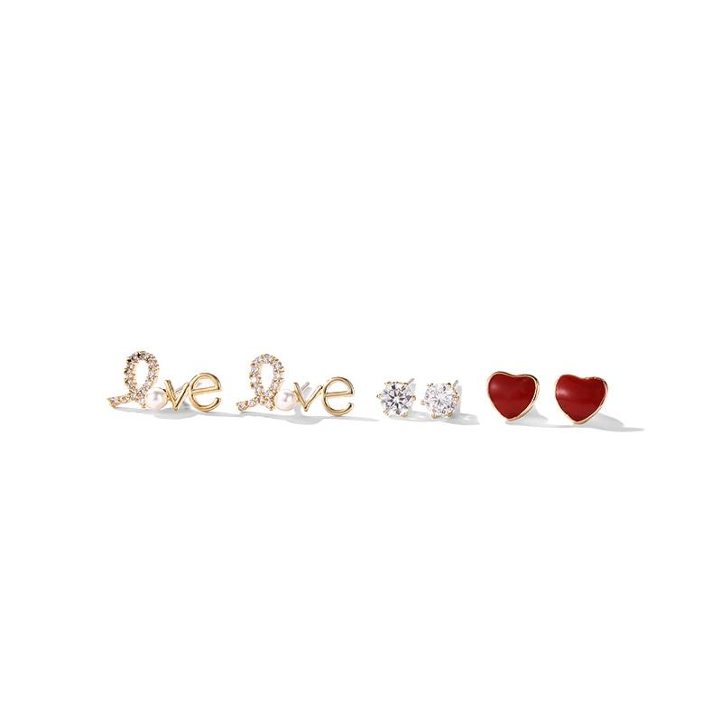 Girl heart ins peach heart tassel earrings multiple sets of fashion sweet and lovely earrings earrings for women earrings 2018 in Drop Earrings from Jewelry Accessories