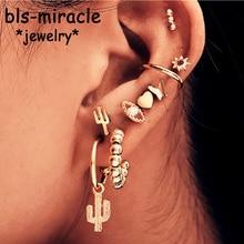Bls-miracle 9Pcs/set Boho Gold Metal Drop Dangle Earrings For Women 2019 Geometric Eyes Moon Star Female Earring Trendy Jewelry