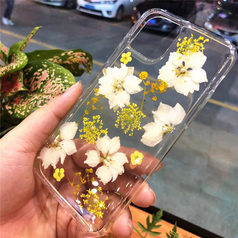 Real Dried Flowers Clear TPU Case for iPhone 11/11 Pro/11 Pro Max 15