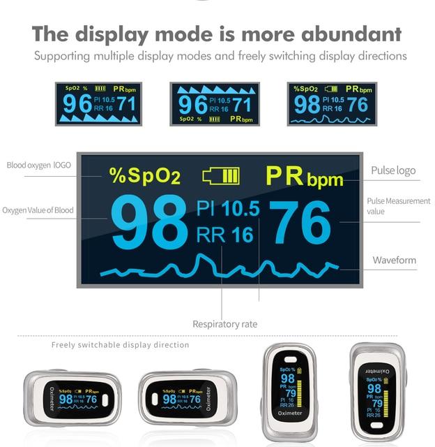OLIECO Finger Pulse Oximeter Sleep Child Adult SPO2 PR PI RR Monitor Household Blood Oxygen Saturate OLED Oximetro Abnormal Alam 1