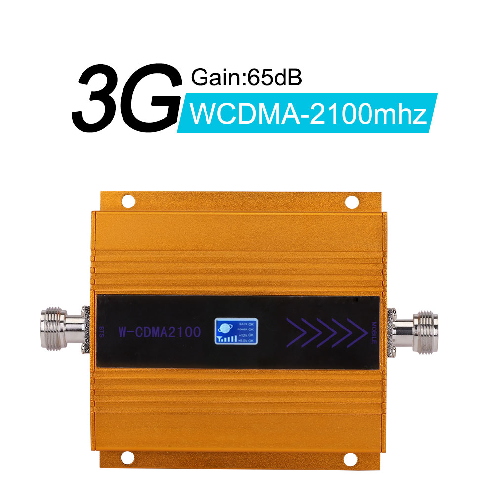 Walokcon 3g WCDMA 2100 MHz Signal Repeater 3G UMTS Band 1 Cellphone Signal Booster 65dB Gain 3G 2100 Mhz Amplifier LCD Display