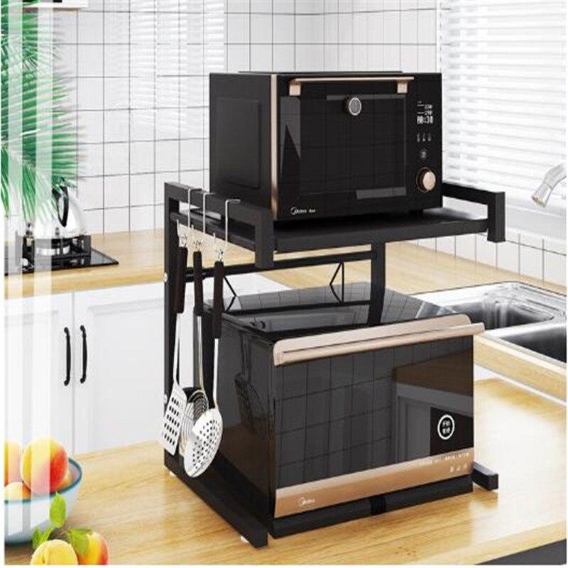 Органайзер для кухни, полка для микроволновой печи, металлическая Многофункциональная подставка, двухслойная подставка для посуды, экономия пространства