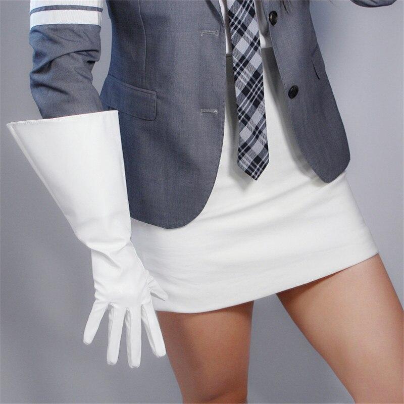 Long Gloves 38cm Big Sleeve Wide Cuff Lantern Sleeve Puff Sleeve Emulation Leather White Men Women Unisex WPU142