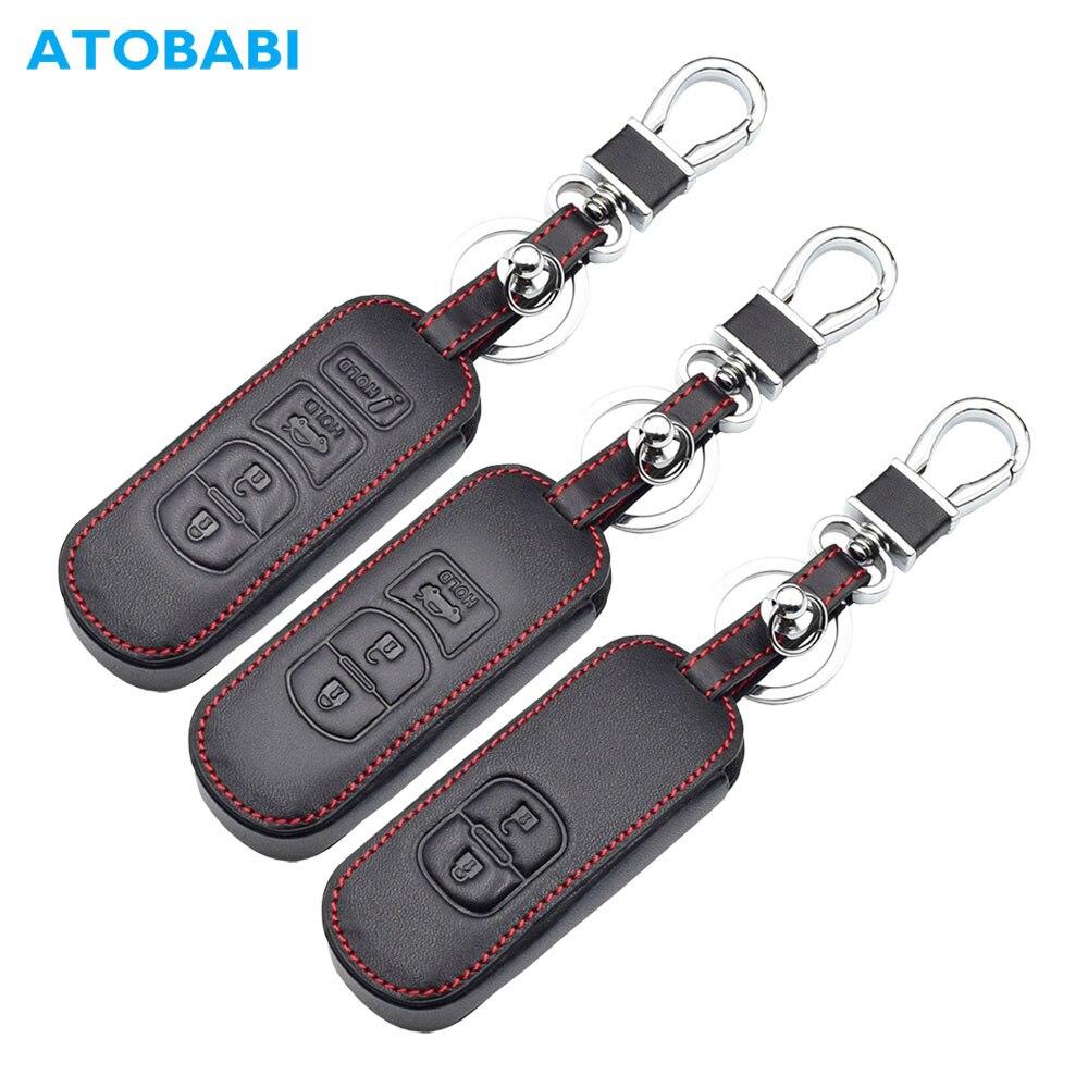 Real Leather Car Key Case For Mazda 3 2 5 6 Axela CX-3 CX-5 CX5 CX-7 CX7 CX-9 RX8 Smart Remote Fob Protector Cover Keychain Bag