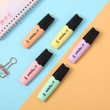 JIANWU 6pcs/set Macaroon Highlighter cute Inclined head Fluorescent pen Kids Graffiti Marker Pen bullet joural Stationery Supply