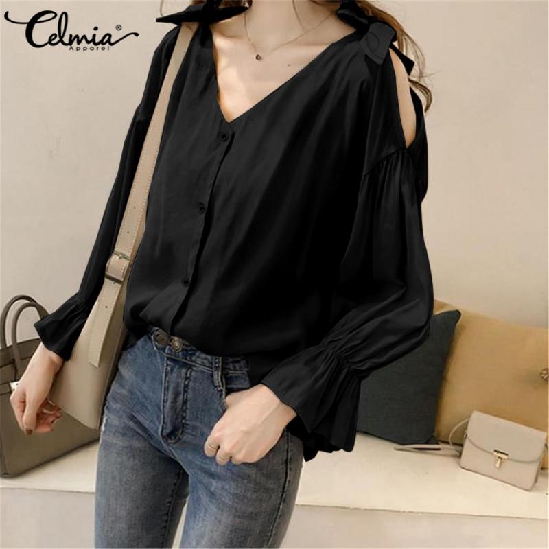 Women 2020 Celmia Fashion Solid Long Flare Sleeve OL Shirt Ladies Cold Shoulder Tops Plus Size Elegant Blusas Oversized Tops 5XL