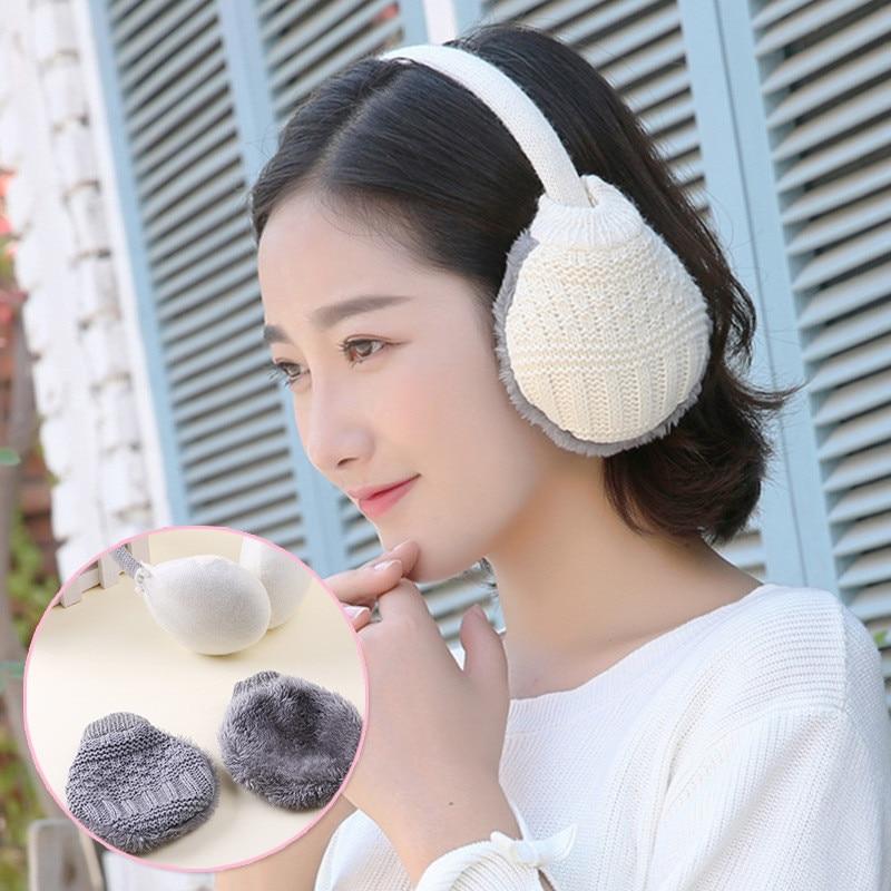 Winter Warm Ear Cover Women Knitted Earmuffs Fashion Patchwork Ear Warmers Women Girls Plush Ear Muffs Earlap Warmer Headband