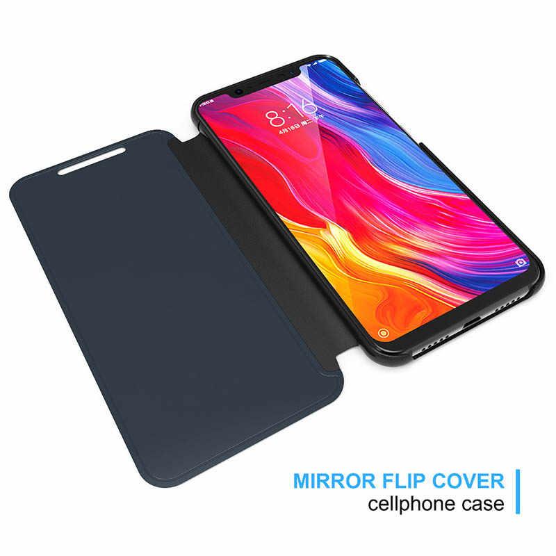 חכם מקרה Flip כיסוי לסמסונג גלקסי S20 אולטרה בתוספת A50 A30 S10 בתוספת S10e S8 S9 הערה 8 9 a7 2018 יוקרה מראה טלפון מקרה