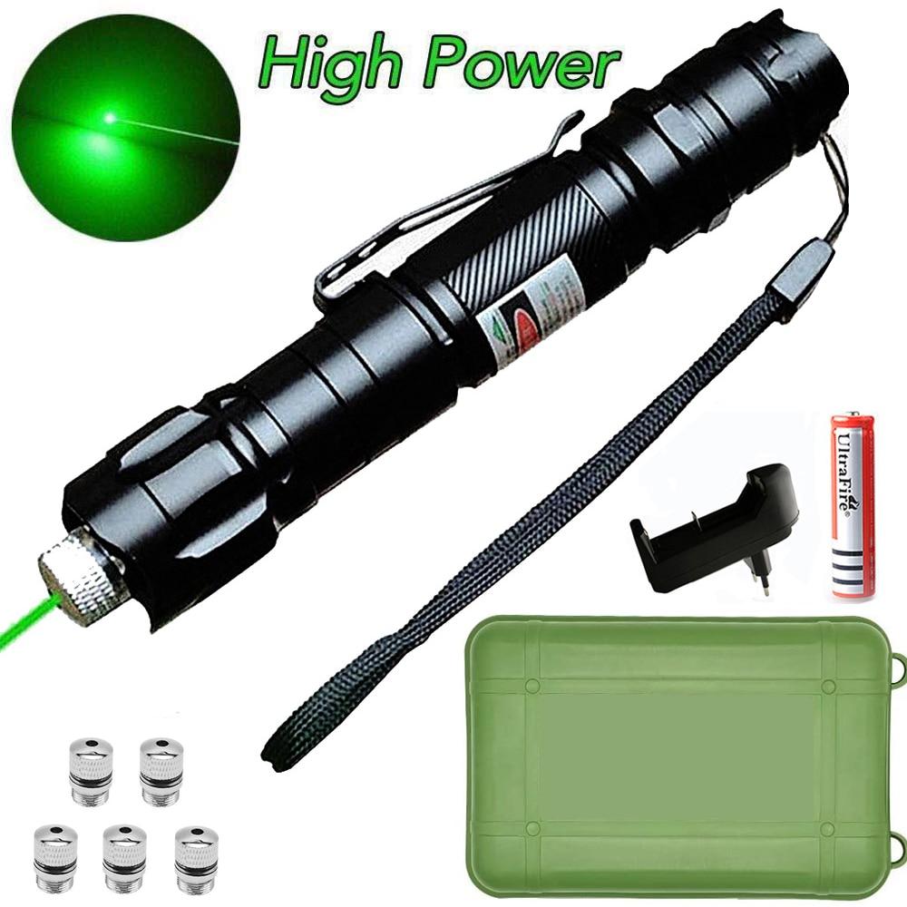 Caça lasers verdes de alta potência foco ajustável queima caneta ponteiro laser verde 532nm 500 a 10000 metros lazer 009 faixa