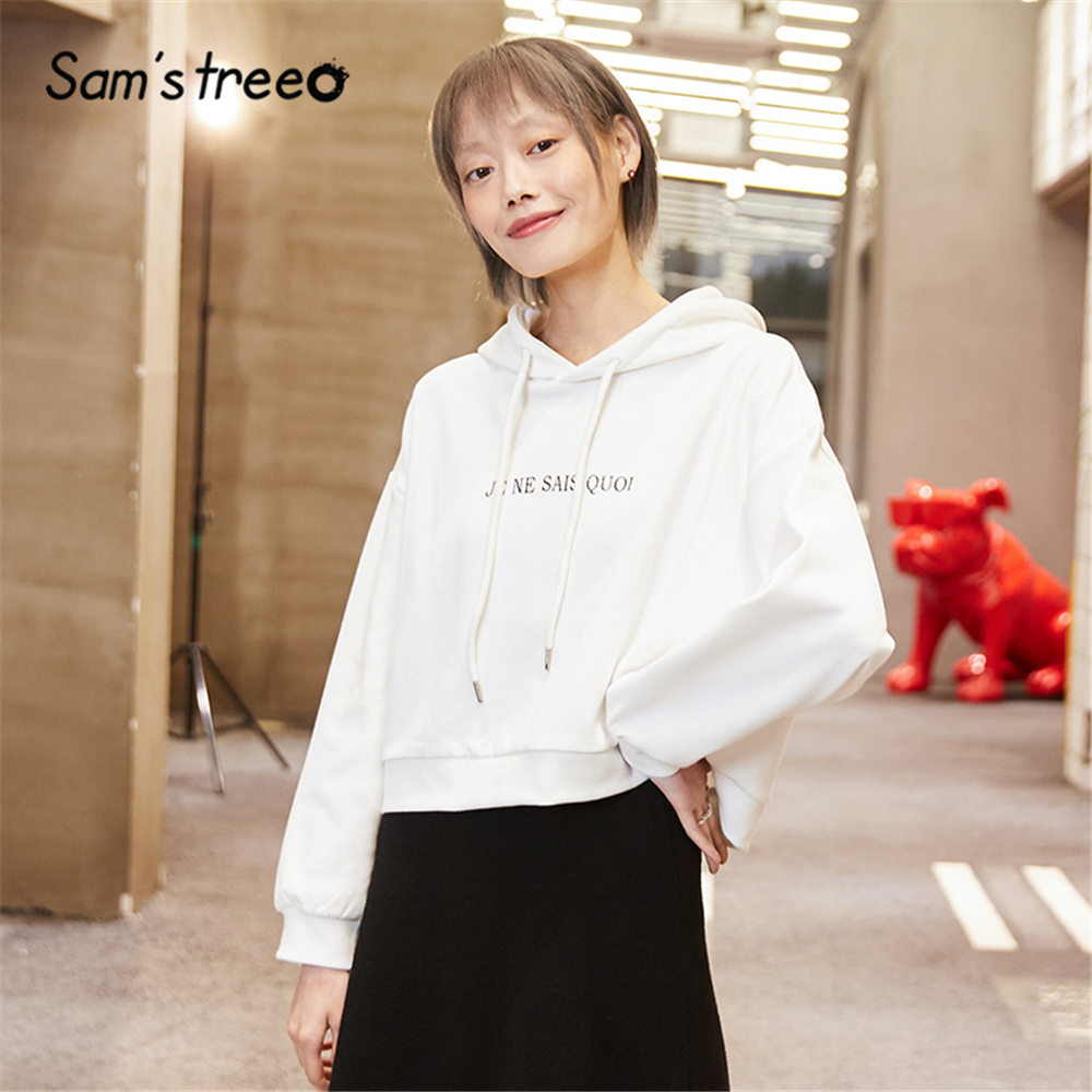 SAM'S TREE White Solid Letter Print Hooded Sweatshirt Women 2020 Spring Green Drawstring Long Sleeve Korean Casual Ladies Top