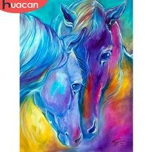 Huacan – mosaïque de Couple de chevaux 5D, broderie diamant de noël Gfit, bricolage, image d'animaux, couture, maison