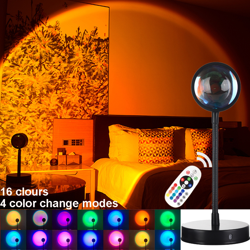 16 Цвета закат проектор лампа Ночной светильник Гостиная, бара, кафе, Спальня украшения, медитации, Йога, фотографического светильник Инж