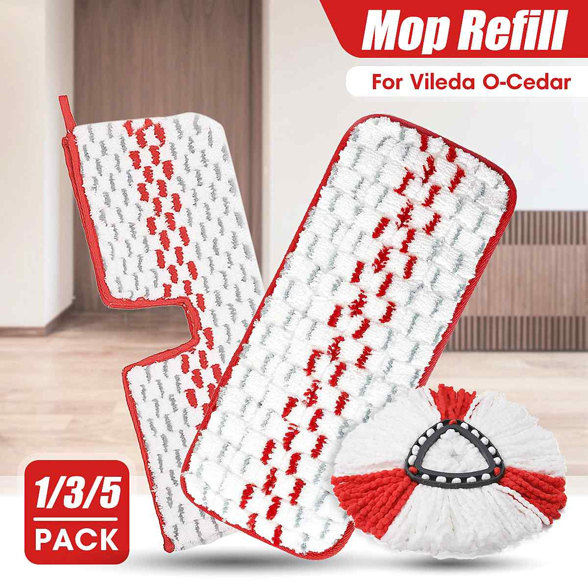 1/3/5pcs Replacement Head Easy Microfiber Spin Mop Refill Floor Mop Head Housekeeper Home Floor Cleaning for Vileda O-Cedar
