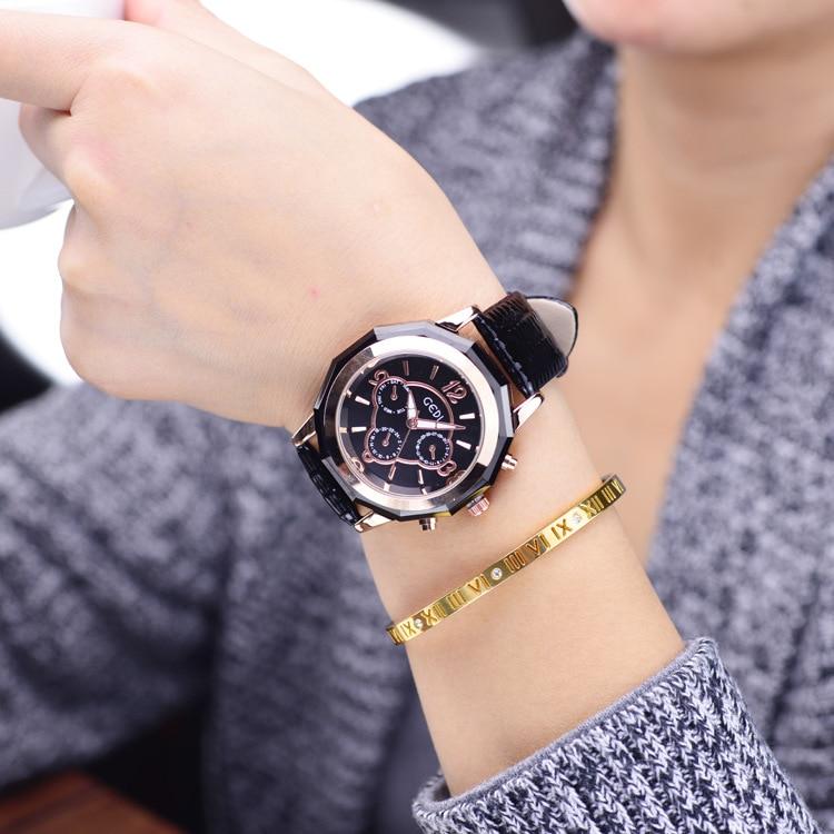 New Ceramic Watches Women Fashion Big Dial Purple Leather Belt Quartz Watch Lady Casual Waterproof Wristwatch for Girl Wife 2020