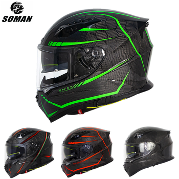 SOMAN ECE Full Face Carbon Helmet Motorcycles Cool Dual Lens Visor Helmet Carbon Fiber Casco Moto Full Face Motorcycle Helmets silvering visor full face dual visor motorcycle helmet