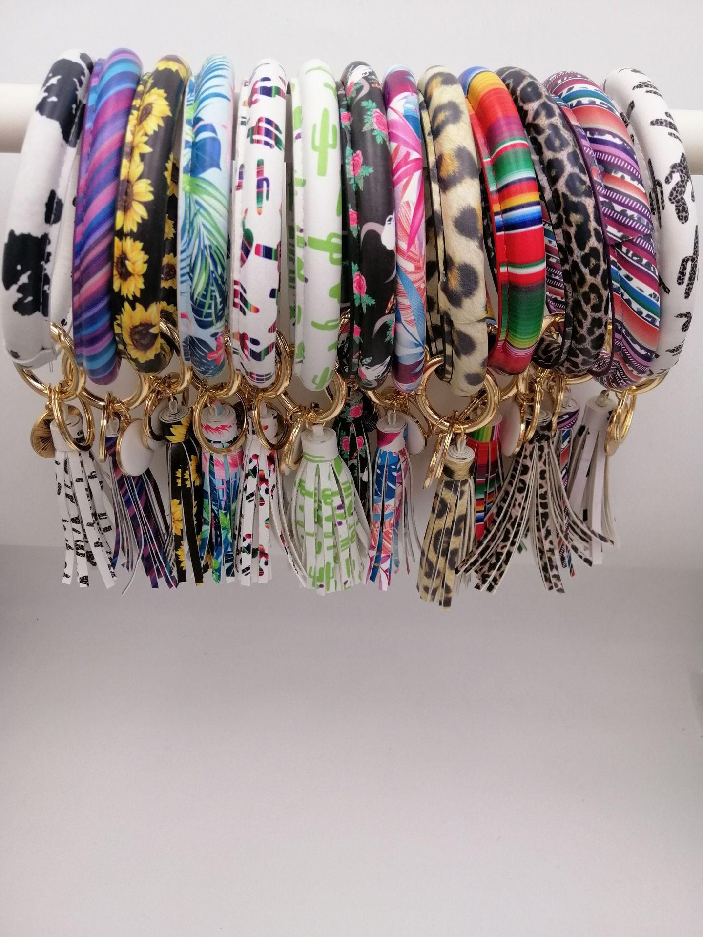 32colors Pu Leather Bracelet Round Drop Oil Tassel Pendant Bracelet&Bangle Keychain  For Women Girl Wrist Strap