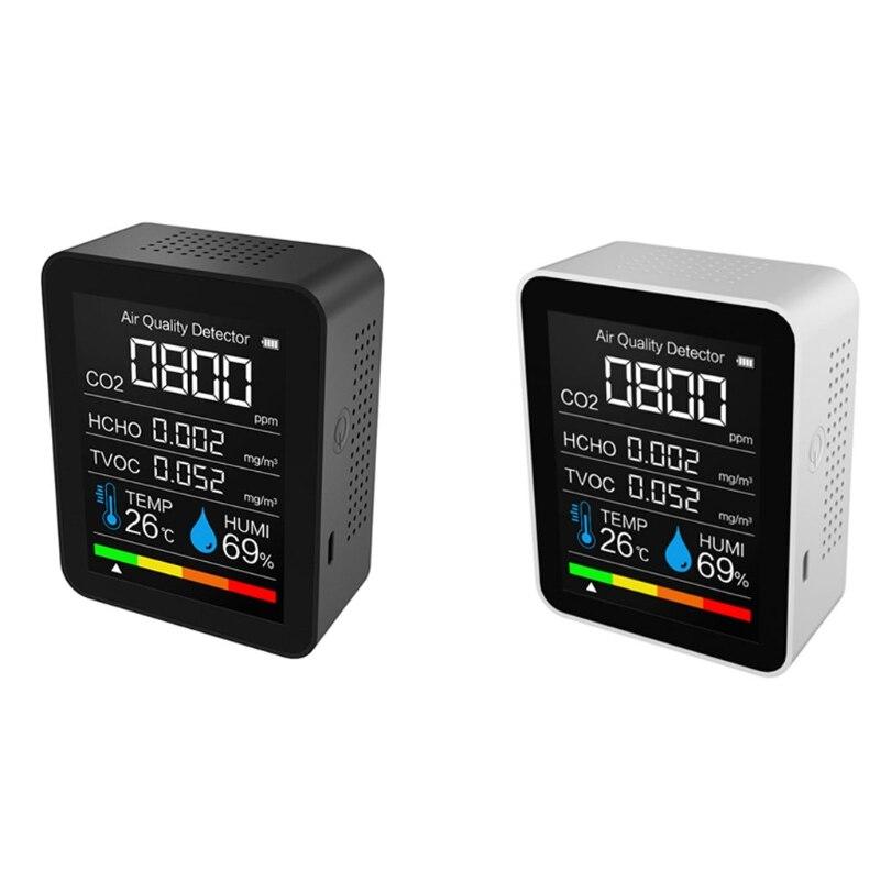 Портативный Измеритель TVOC CO2, цифровой датчик температуры и влажности, тестер качества воздуха, детектор углекислого газа и формальдегида ...