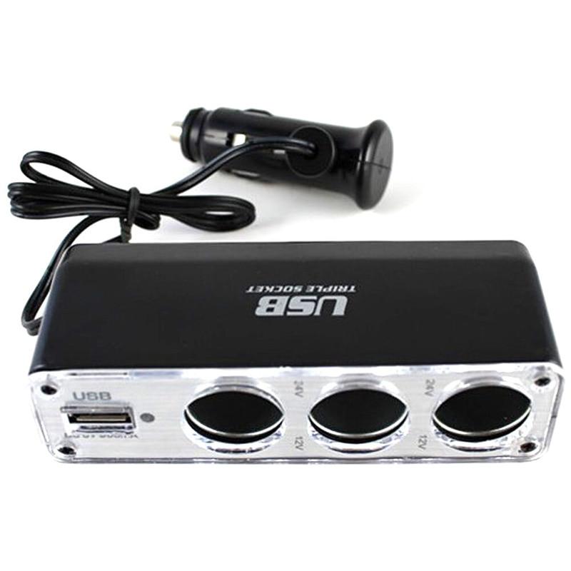 Высокое качество 12V автомобильного прикуривателя Зарядное устройство для мобильного телефона, смартфона, зажигалка 3-сторонний выход разъе...