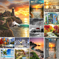 5D Diamond Painting Landscape Sunset Sea View Square/Round Embroidery Cross Stitch Kit Painting Mosaic DIY Home Decoration Gift