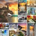 5D Diamant Malerei Landschaft Sunset Meer Ansicht Platz/Runde Stickerei Kreuz Stich Kit Malerei Mosaik DIY Hause Dekoration Geschenk
